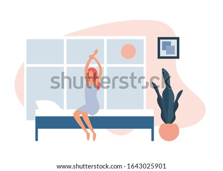woman waking up in morning