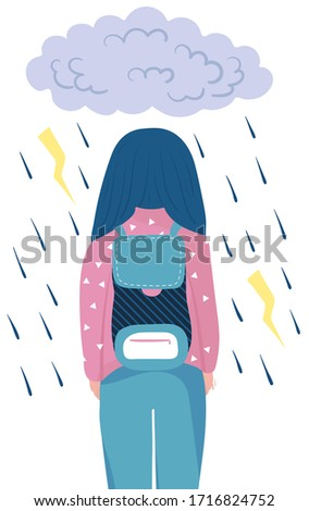 woman walk in rain and storm