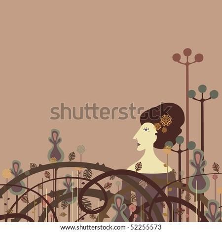 woman walking by exotic garden