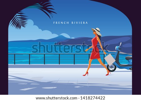 Woman walking by the seaside. Fashion Illustration. French Riviera