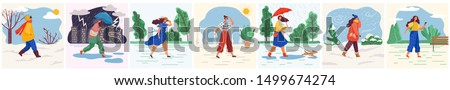 Woman walking in sunny and snowy weather. Set of characters wearing clothes to weather conditions. Rainfall and thunderstorm in city. Landscapes with trees and cities with skyscrapers. Various weather