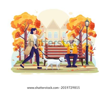 woman walking in the park in