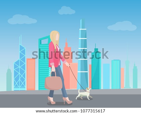 woman walking in urban city