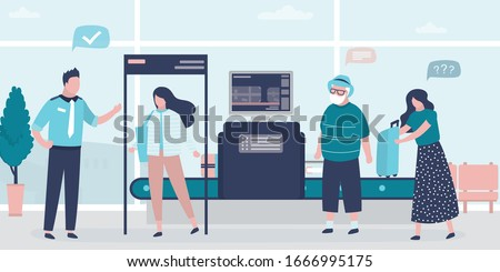 Woman walks through door frame metal detector. Airport security. X-ray luggage scanner. Checking baggage inside airport. Public transport safety concept. Staff and various passengers. Vector