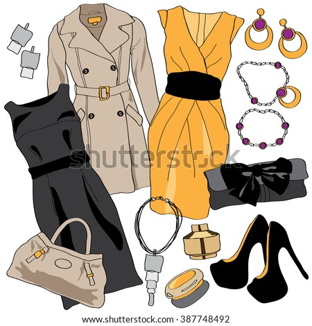 woman wardrobe accessories set