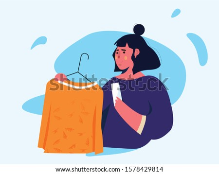 Woman wardrobe cloths. Girl try clothing. Women in clothing store. Garment shop interior vector concept. Closet with bags, boxes and shoes. Flat style vector illustration.