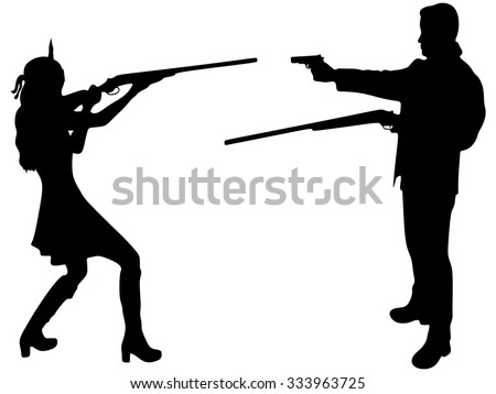 woman warrior aiming a rifle at