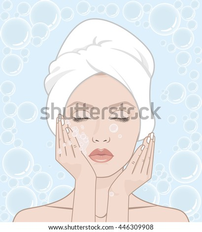 woman washes her face woman