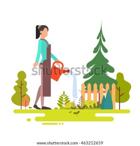 woman washing garden green tree