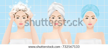 Woman washing hair , wear a towel and shower cap on head in the bathroom vector illustration