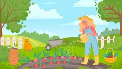 Woman watering garden. Female gardener works, farming, grows vegetables and waters tomato. Agriculture landscape and farmer vector concept. Girl in hat with basket full fresh veggies