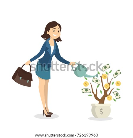 woman watering money tree idea