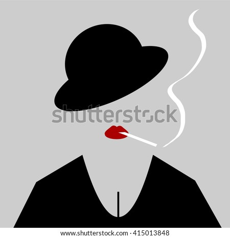 woman wearing bowler hat and...