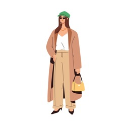 Woman wearing casual fashion clothes and sunglasses. Model in trendy summer apparel. Female in modern loose pants, cardigan and cap. Colored flat vector illustration isolated on white background