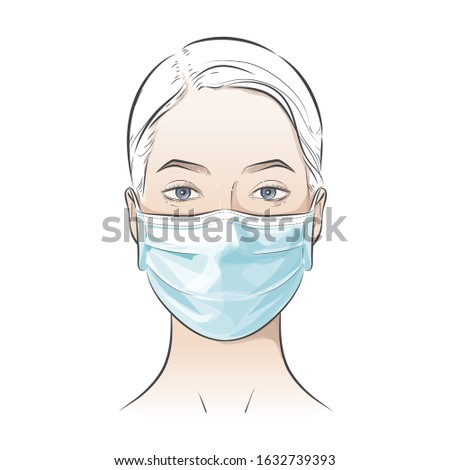 Woman wearing disposable medical surgical face mask to protect against high air toxic pollution city. stop the spread of viruses, help prevent hand-to-mouth transmissions. Vector illustration