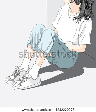Woman wearing jeans sitting in the sun in the heat.She has a lonely and Sad mood waiting for someone.Doodle art concept,illustration painting
