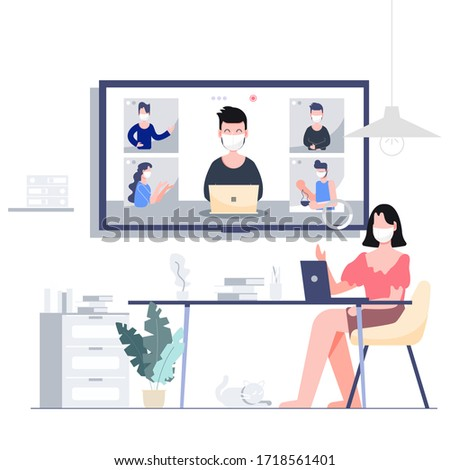 Woman wearing mask work at home teleconference through big digital screen for business meeting with group of five co-workers. Flat design abstract people vector EPS10.