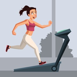 Woman wearing sporty clothes doing workout on treadmill vector illustration