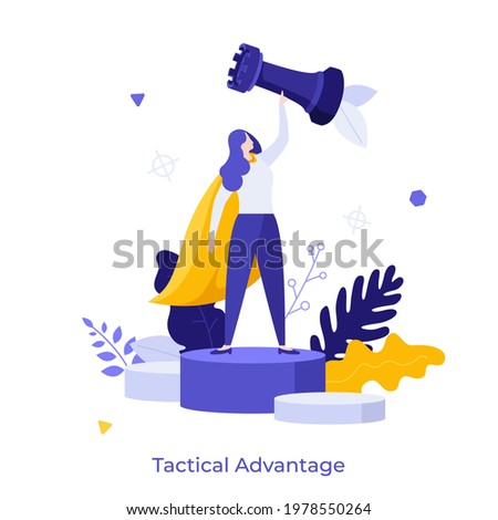 Woman wearing superhero's cape and holding rook chess piece. Concept of tactical advantage, successful entrepreneurship tactics or strategy, superiority in business. Modern flat vector illustration. Сток-фото ©