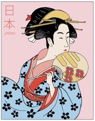 Woman wearing traditional Japanese clothes. Geisha costume. Flower pattern. Hand drawn vector illustration. (Translate red letters : 'Japan')