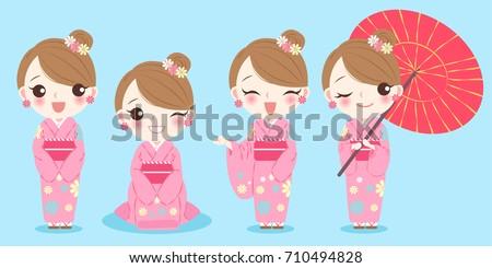 woman wears kimono on the blue