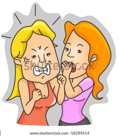 Woman whispering - Vector - stock vector