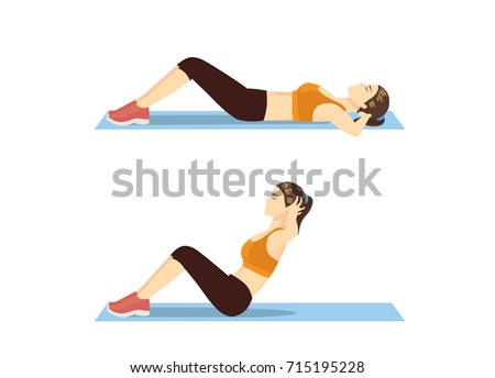 Woman who was fat doing sit up on mat. Illustration about correct exercise posture.