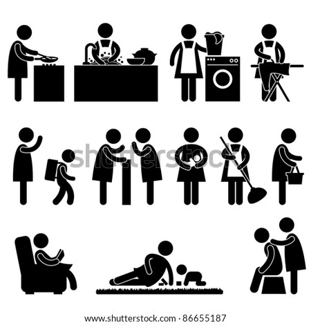 Woman Wife Mother Daily Routine People Icon Sign Symbol Pictogram