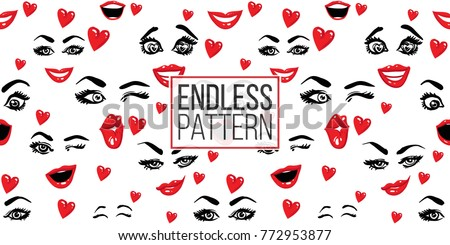 Woman wink, surprised, smile, in love, kissing wink, laugh, smirk vector emoticons, emoji, smiley icons, characters. Fashion illustrated women's emotional faces seamless pattern.