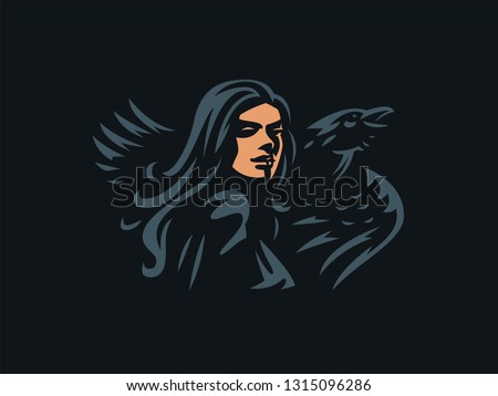 woman witch with flowing hair