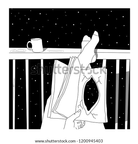 Woman with a book and a cup of coffee or tea. Around the cosmos, the universe, constellations and stars. Symbolism and philosophy