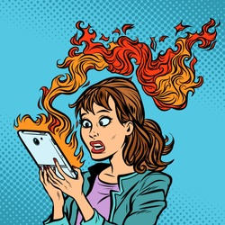 Woman with a burning phone. Hot news. Ignition of the battery. Comic cartoon pop art retro vector illustration drawing