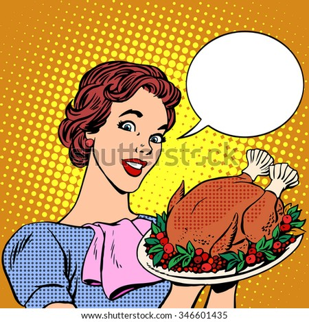 woman with a christmas turkey