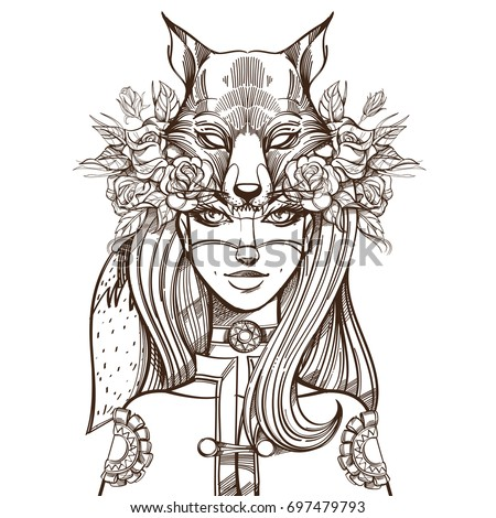 woman with a mask of a fox