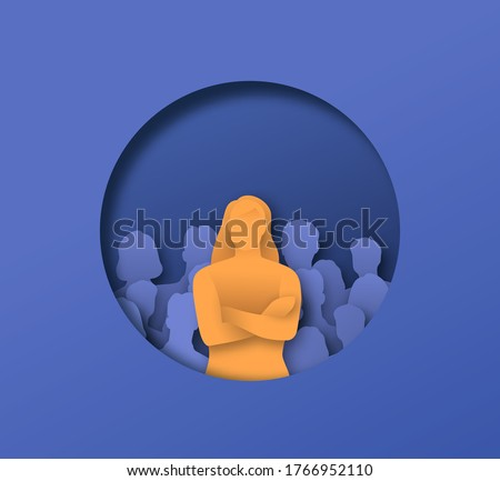 Woman with arms crossed in front of people crowd, 3D papercut illustration of business leadership concept. Male team leader standing confident.