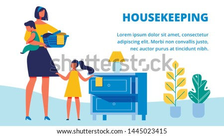 Woman with Baby in Arm. Little Girl Putting Clean Clothes on Dresser. Housekeeping. Training for Women Illustration. Housewife with Children Cleans Apartment. Fold Clothes. Clean Clothes Basket