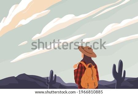woman with backpack looking