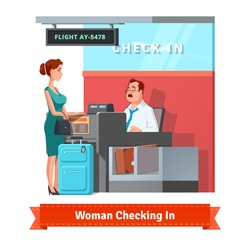 Woman with baggage checking in at the airport with airlines clerk. Flat style illustration or icon. EPS 10 vector.