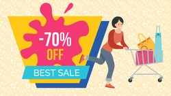 Woman with bags for purchases in the shopping cart. Promotion of sales and discounts in the shop. A girl with packages in her hands is rushing to the store for shopping. Sale advertising on background