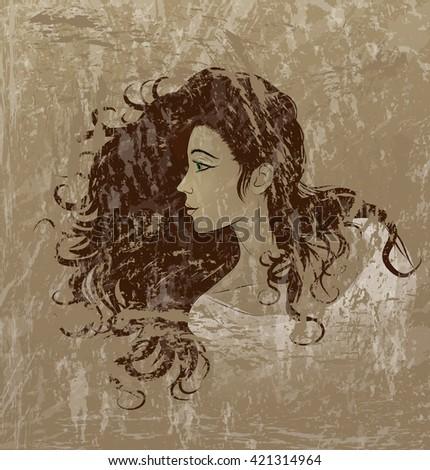 woman with beautiful long dark