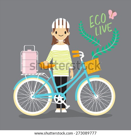 woman with bicycle   eco live