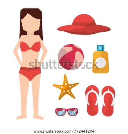 woman with bikini hat ball