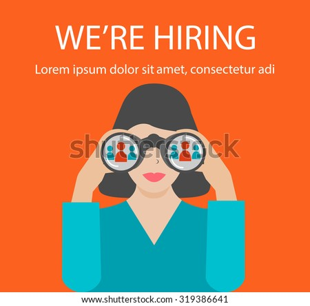 Woman with binoculars looking for the best suited employee. HR, recruiting, we are hiring concepts, vector illustration.