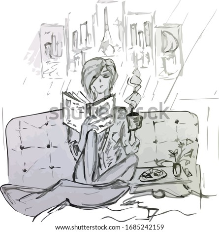 woman with book and coffee at