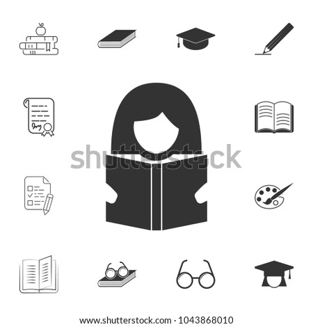 Woman With book icon. Detailed set of education element icons. Premium quality graphic design. One of the collection icons for websites, web design, mobile app on white background