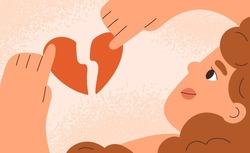 Woman with broken heart. Divorce, heartbreak and love relationships break up concept. Symbol of breakup and separation with valentine, split torn parts. Flat vector illustration of heartbroken person.