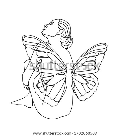 woman with butterfly line art