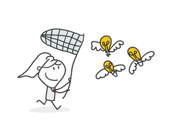 Woman with butterfly net catching flying winged lightbulb. Concept of chasing or pursuing innovative business idea, creative thinking, brainstorm. Modern flat vector illustration for banner, poster.
