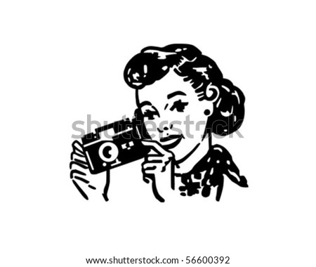 Woman With Camera - Retro Clip Art