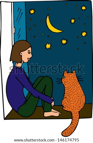 Woman with cat. Night in the city. Hand drawn illustration.